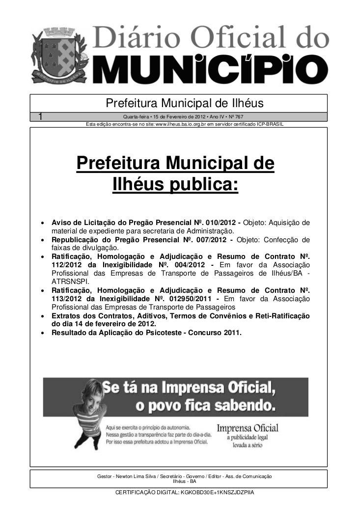 Prefeitura Municipal de Ilhéus1                             Quarta-feira • 15 de Fevereiro de 2012 • Ano IV • Nº 767      ...