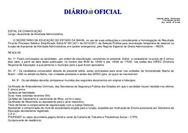Salvador, Bahia · Quinta-feira 17 de Outubro de 2013 Ano · XCVIII · No 21.264  EDITAL DE CONVOCAÇÃO Cargo –Assistente de A...