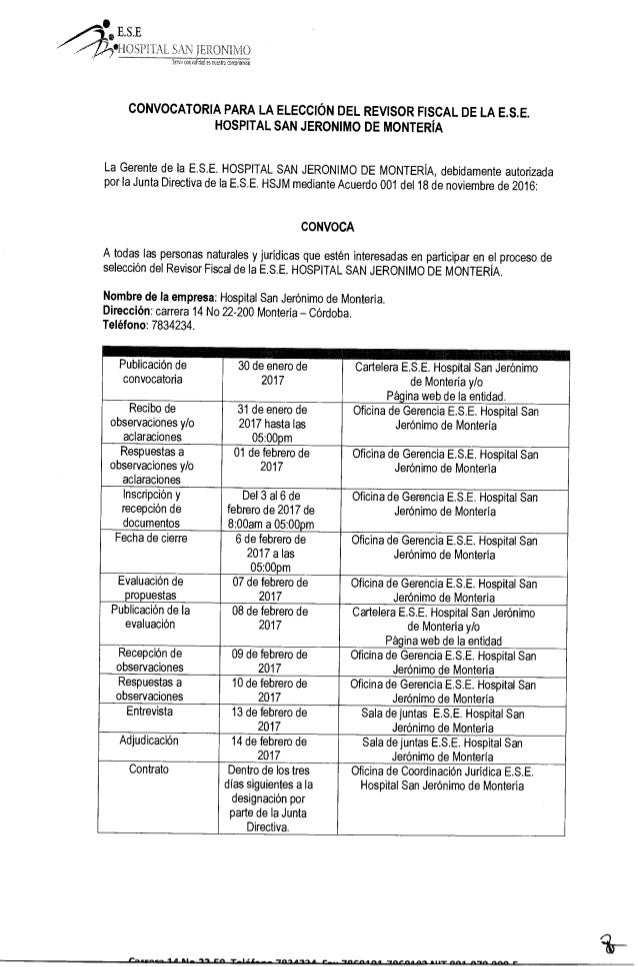 CONVOCATORIA - Revisor Fiscal de la E.S.E