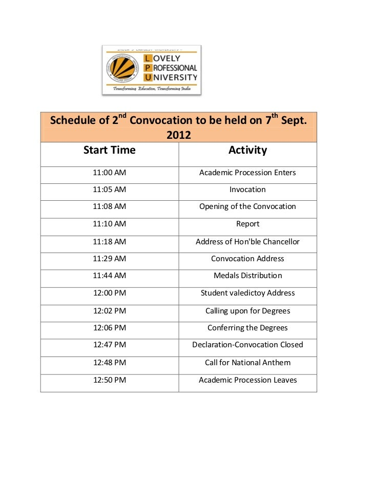 Schedule of 2nd Convocation to be held on 7th Sept.                      2012     Start Time                    Activity  ...