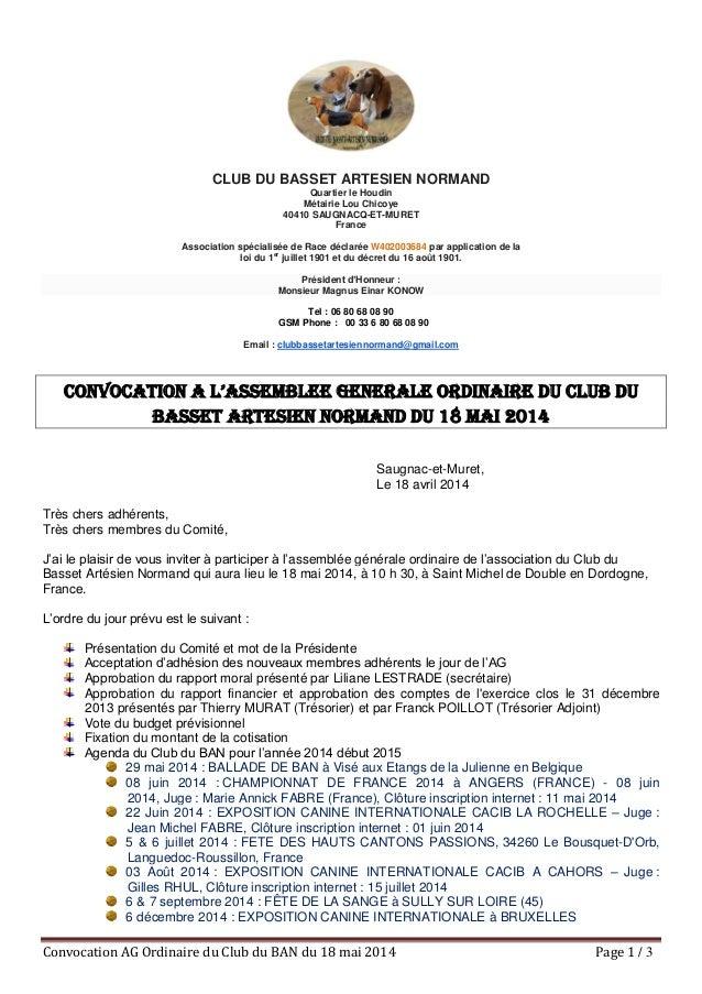 Convocation AG Ordinaire du Club du BAN du 18 mai 2014 Page 1 / 3 CLUB DU BASSET ARTESIEN NORMAND Quartier le Houdin Métai...