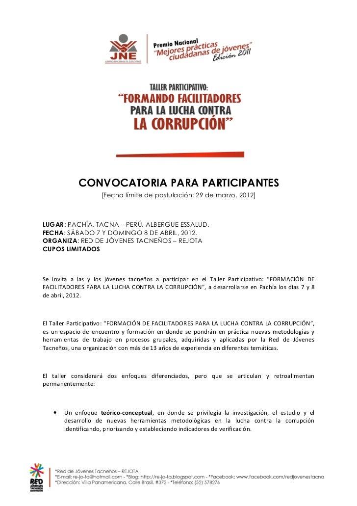 CONVOCATORIA PARA PARTICIPANTES                    [Fecha límite de postulación: 29 de marzo, 2012]LUGAR: PACHÍA, TACNA – ...