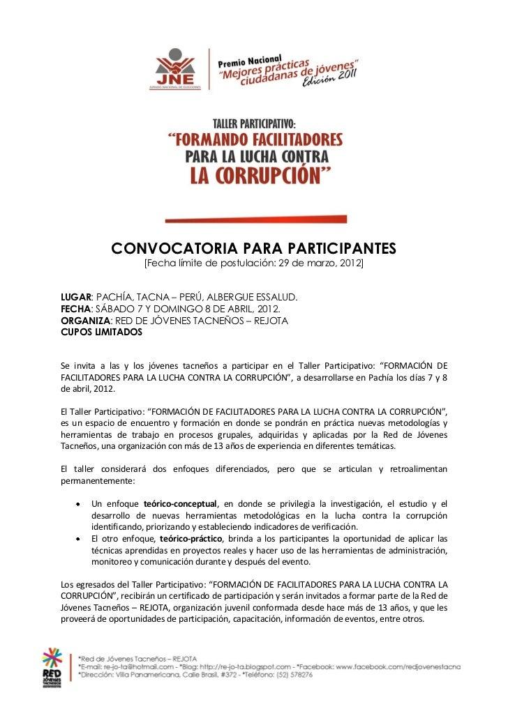 CONVOCATORIA PARA PARTICIPANTES                     [Fecha límite de postulación: 29 de marzo, 2012]LUGAR: PACHÍA, TACNA –...