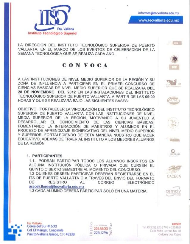 Convocatoria 1er Concurso Ciencias Básicas Nivel Medio Superior