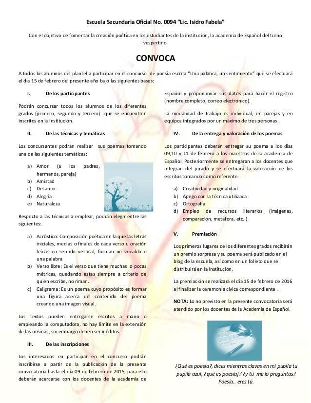 Convocatoria concurso de poes a 2016 for Convocatoria concurso de docentes 2016