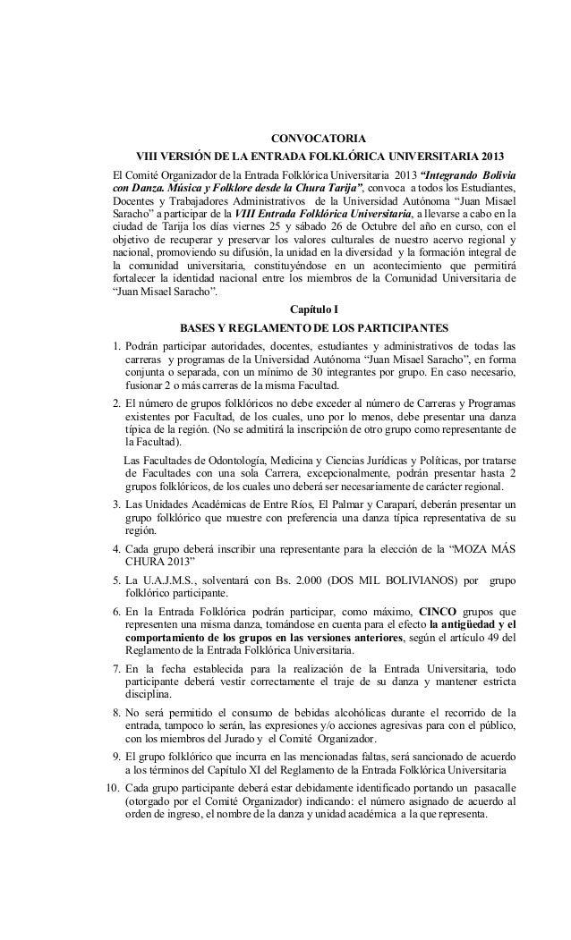 CONVOCATORIA VIII VERSIÓN DE LA ENTRADA FOLKLÓRICA UNIVERSITARIA 2013 El Comité Organizador de la Entrada Folklórica Unive...