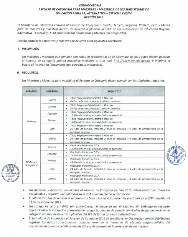Convocatoria ascenso categoria 2016 for Convocatoria maestros 2016