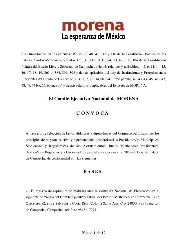 Página 1 de 12 Con fundamento en los artículos: 35, 36, 39, 40, 41, 115 y 116 de la Constitución Política de los Estados U...