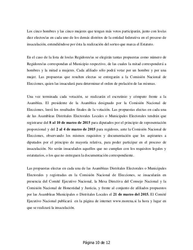 Página 10 de 12 Los cinco hombres y las cinco mujeres que tengan más votos participarán, junto con los/as diez electos/as ...