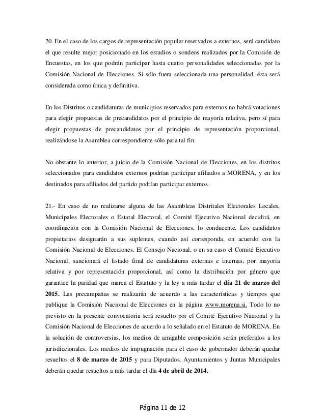 Página 11 de 12 20. En el caso de los cargos de representación popular reservados a externos, será candidato el que result...