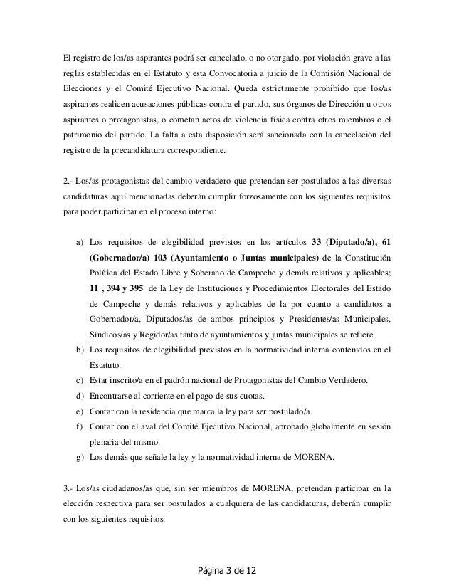 Página 3 de 12 El registro de los/as aspirantes podrá ser cancelado, o no otorgado, por violación grave a las reglas estab...