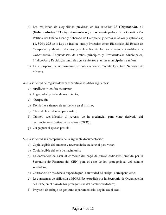 Página 4 de 12 a) Los requisitos de elegibilidad previstos en los artículos 33 (Diputado/a), 61 (Gobernador/a) 103 (Ayunta...