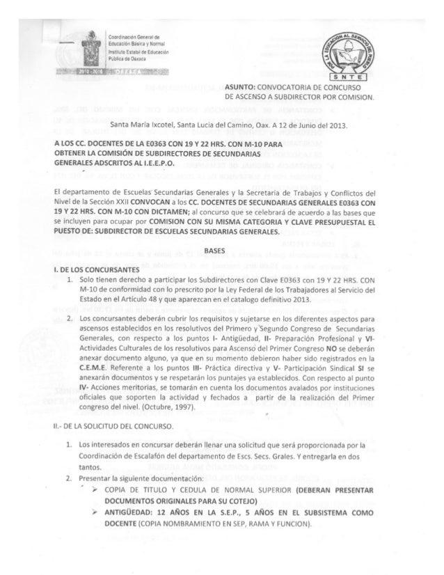 Convocatoria para ascenco a subdirectores directores y supervisores del nivel de secundarias generales