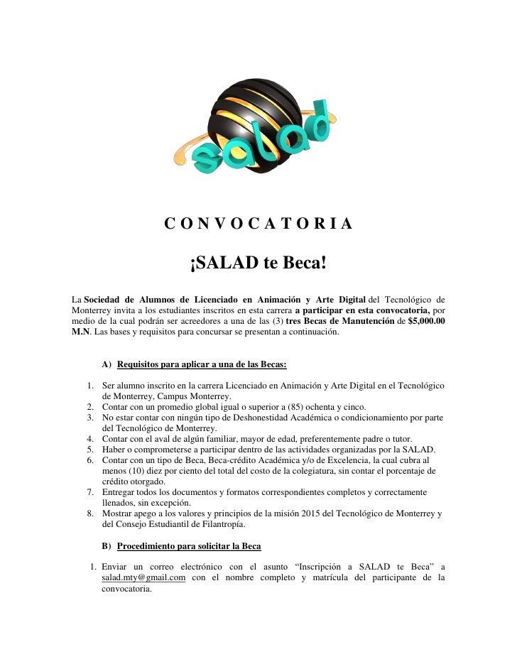 CONVOCATORIA                                 ¡SALAD te Beca! La Sociedad de Alumnos de Licenciado en Animación y Arte Digi...