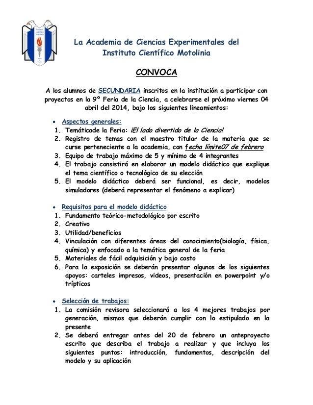 La Academia de Ciencias Experimentales del Instituto Científico Motolinia  CONVOCA A los alumnos de SECUNDARIA inscritos e...
