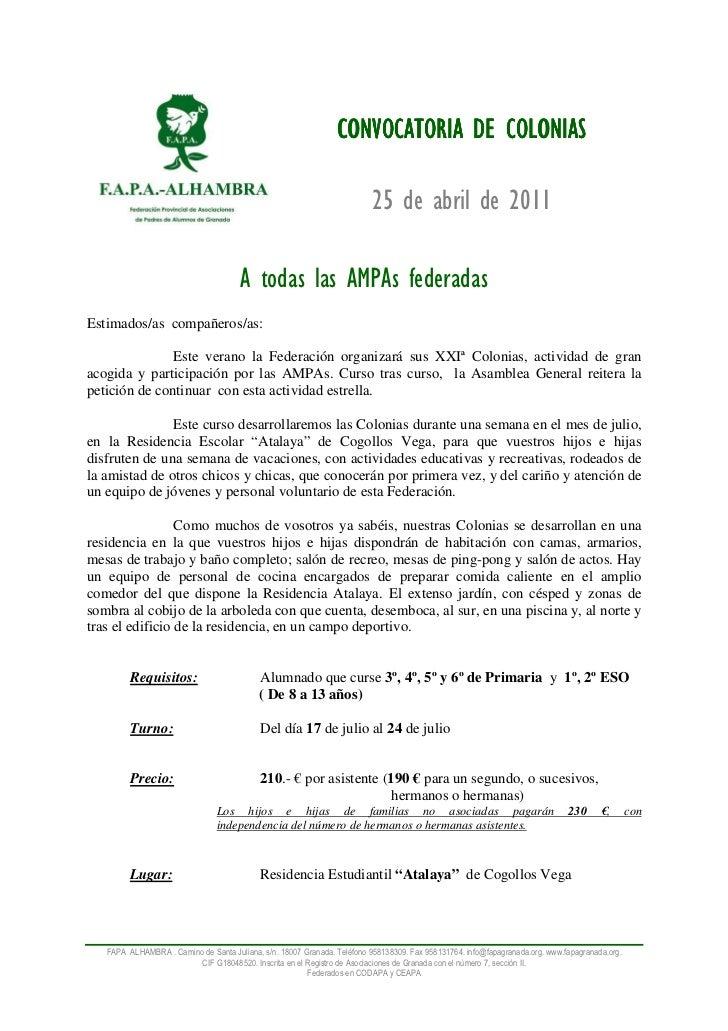 CONVOCATORIA DE COLONIAS                                                                          25 de abril de 2011     ...