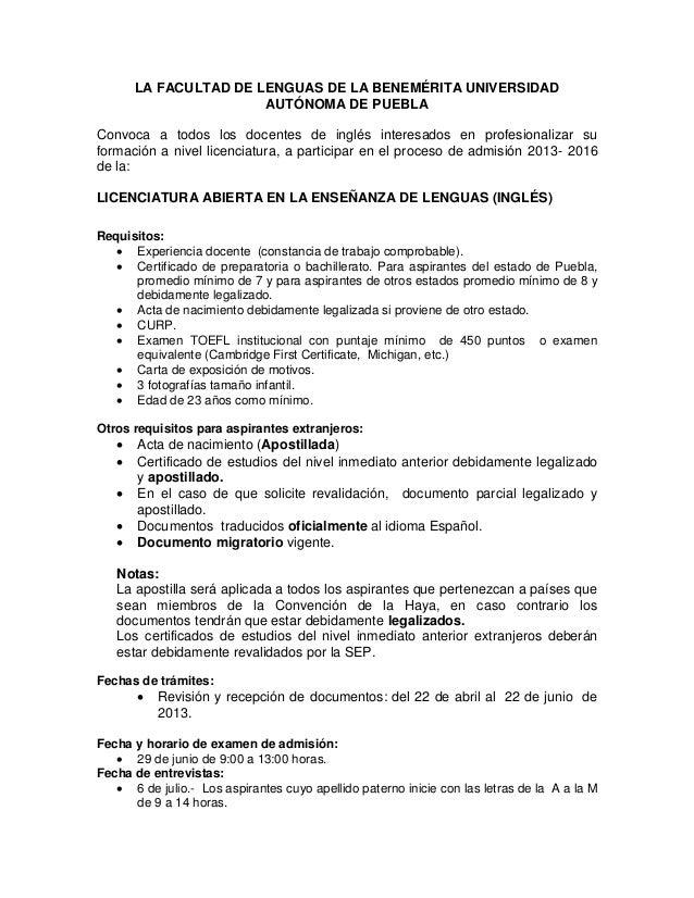Convocatoria 2013 Licenciatura Abierta en Enseñanza del Inglés