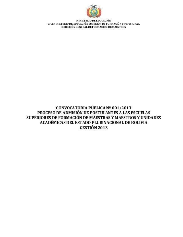 MINISTERIO DE EDUCACIÓN         VICEMINISTERIO DE EDUCACIÓN SUPERIOR DE FORMACIÓN PROFESIONAL                  DIRECCIÓN G...