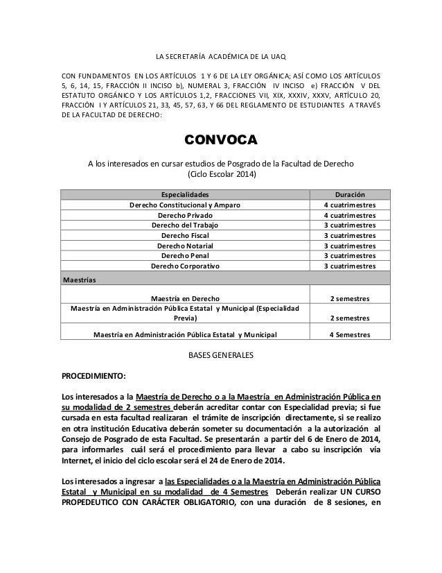 LA  SECRETARÍA    ACADÉMICA  DE  LA  UAQ   CON  FUNDAMENTOS    EN  LOS  ARTÍCULOS    1  Y  ...