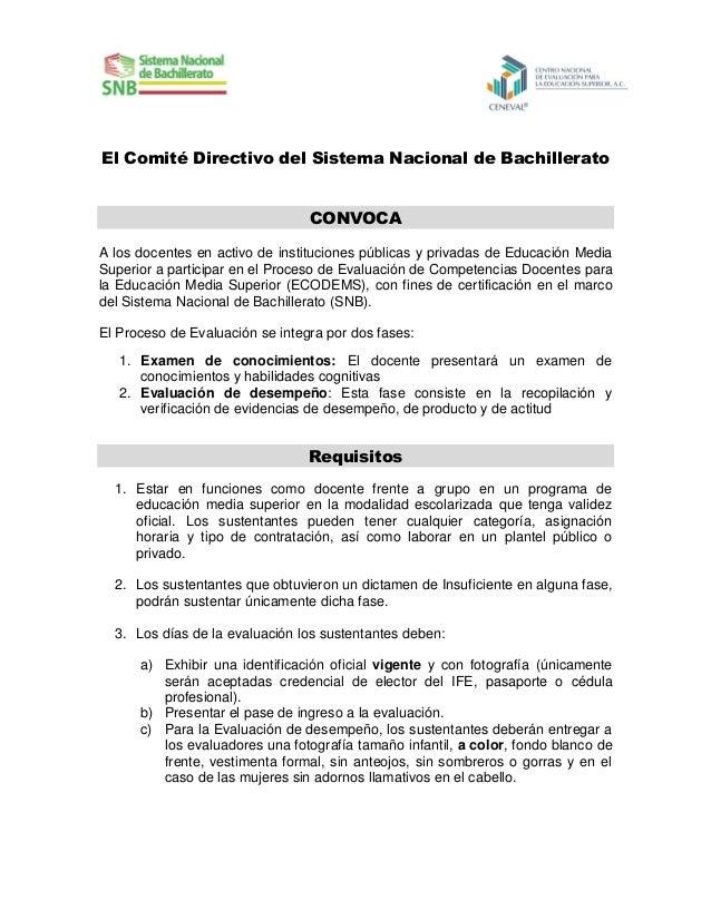 El Comité Directivo del Sistema Nacional de Bachillerato CONVOCA A los docentes en activo de instituciones públicas y priv...