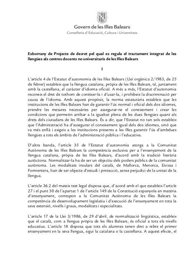 Esborrany de Projecte de decret pel qual es regula el tractament integrat de lesllengües als centres docents no universita...
