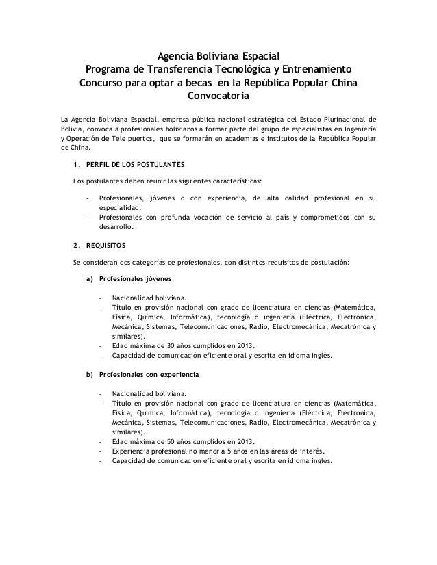 Agencia Boliviana EspacialPrograma de Transferencia Tecnológica y EntrenamientoConcurso para optar a becas en la República...