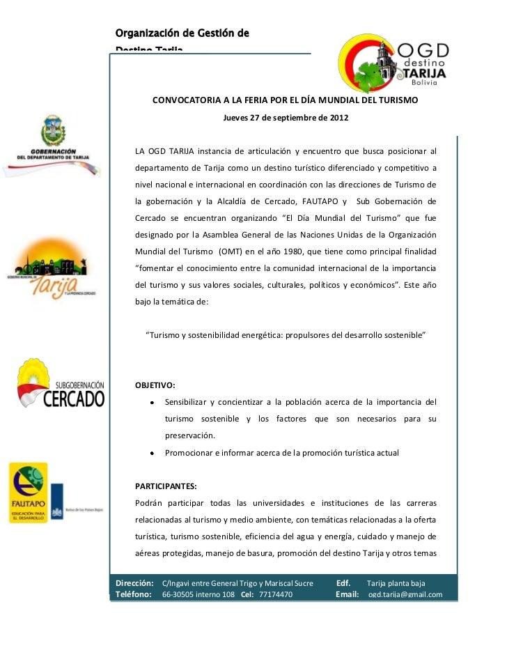 Organización de Gestión deDestino Tarija          CONVOCATORIA A LA FERIA POR EL DÍA MUNDIAL DEL TURISMO                  ...