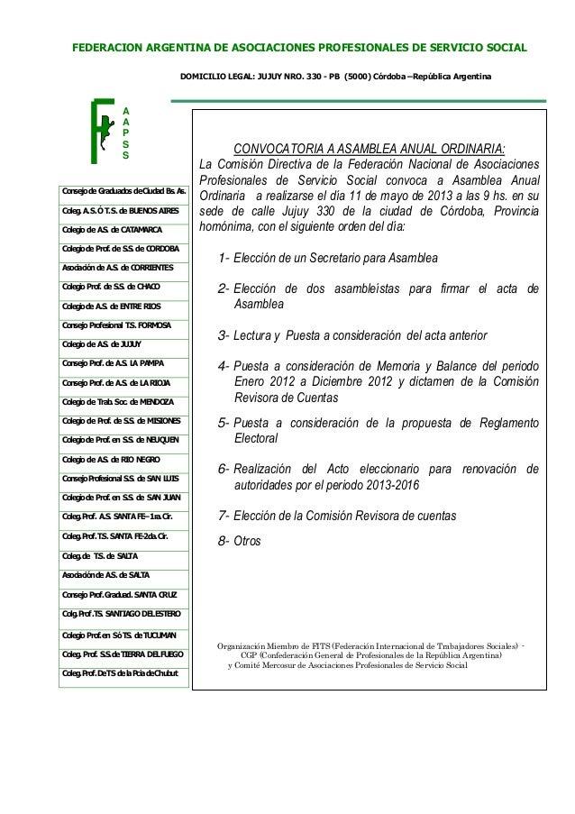 DOMICILIO LEGAL: JUJUY NRO. 330 - PB (5000) Córdoba –República ArgentinaFEDERACION ARGENTINA DE ASOCIACIONES PROFESIONALES...
