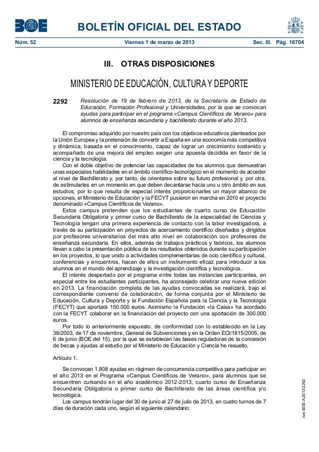 BOLETÍN OFICIAL DEL ESTADONúm. 52 Viernes 1 de marzo de 2013 Sec. III. Pág. 16704III. OTRAS DISPOSICIONESMINISTERIO DE ...