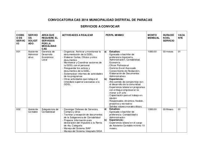 CONVOCATORIA CAS 2014 MUNICIPALIDAD DISTRITAL DE PARACAS SERVICIOS A CONVOCAR CODIG O DE SERVIC IO  SERVICI OS SOLICIT ADO...