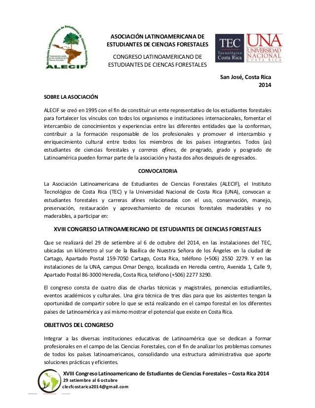 XVIII Congreso Latinoamericano de Estudiantes de Ciencias Forestales – Costa Rica 2014 29 setiembre al 6 octubre clecfcost...