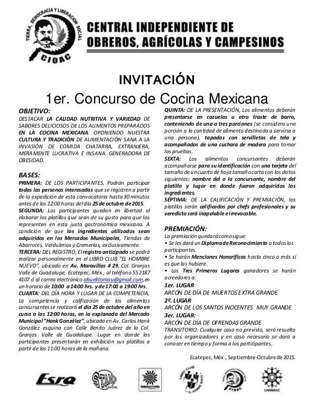 Convocatoria concurso de cocina mexicana - Concurso de cocina ...