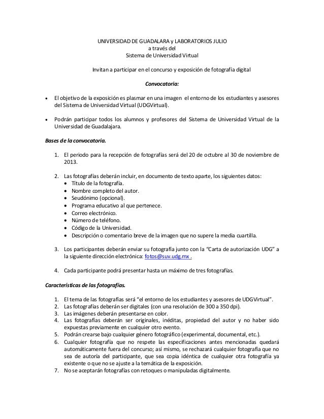 UNIVERSIDAD DE GUADALARA y LABORATORIOS JULIO a través del Sistema de Universidad Virtual Invitan a participar en el concu...