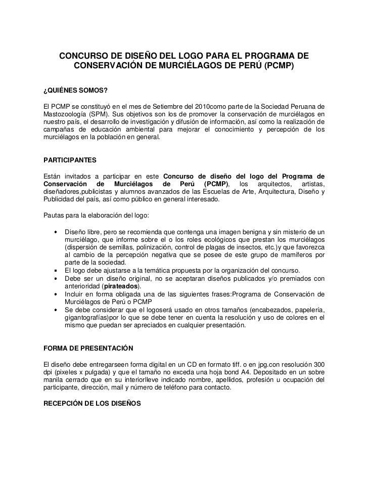 CONCURSO DE DISEÑO DEL LOGO PARA EL PROGRAMA DE       CONSERVACIÓN DE MURCIÉLAGOS DE PERÚ (PCMP)¿QUIÉNES SOMOS?El PCMP se ...