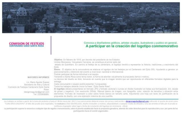 Convocatoria Diseño de Logotipo Centenario Ejido Santa Rosa