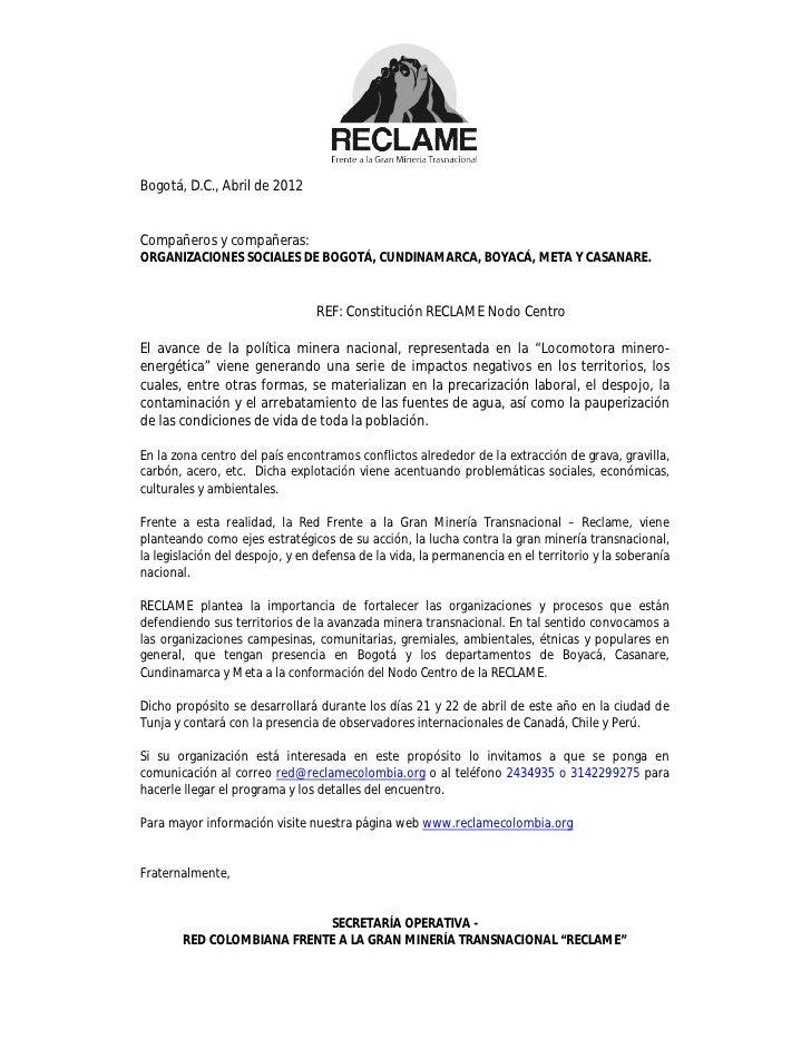 Bogotá, D.C., Abril de 2012Compañeros y compañeras:ORGANIZACIONES SOCIALES DE BOGOTÁ, CUNDINAMARCA, BOYACÁ, META Y CASANAR...