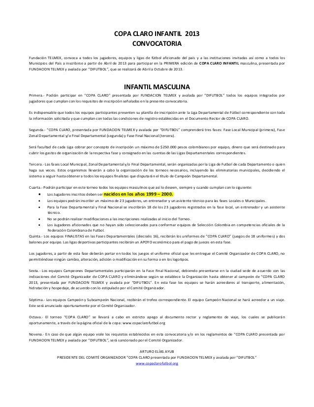 COPA CLARO INFANTIL 2013CONVOCATORIAFundación TELMEX, convoca a todos los jugadores, equipos y ligas de fútbol aficionado ...