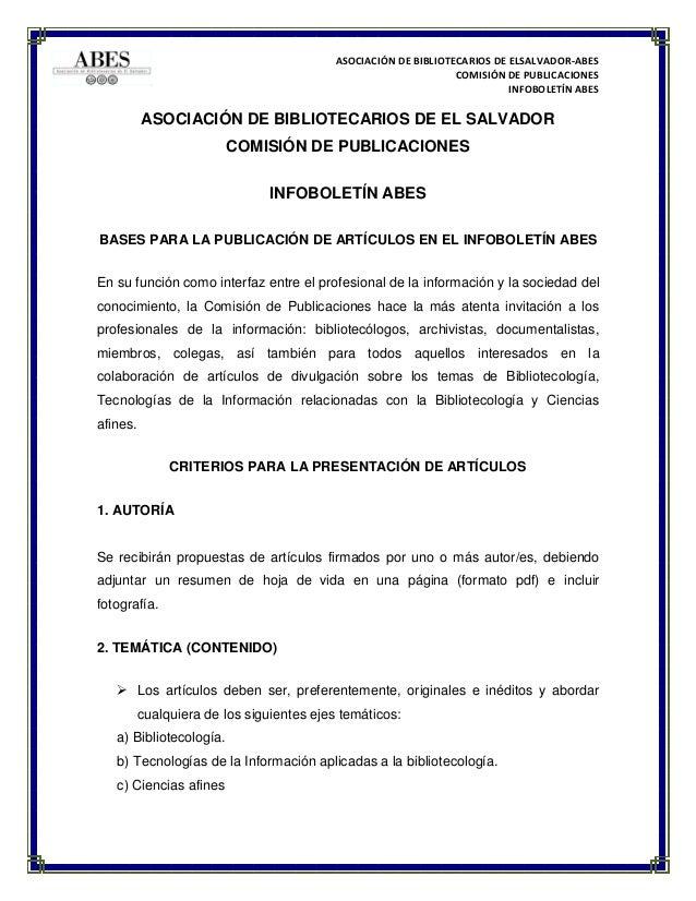 Convocatoria criterios para articulos 2016 for Convocatorias para profesores 2016