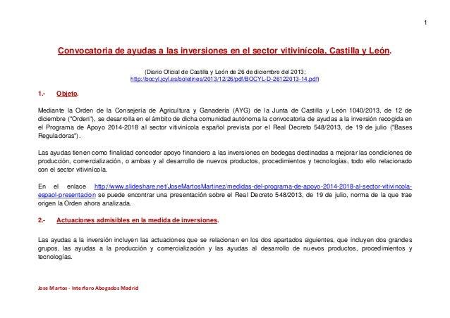 1  Convocatoria de ayudas a las inversiones en el sector vitivinícola, Castilla y León. (Diario Oficial de Castilla y León...