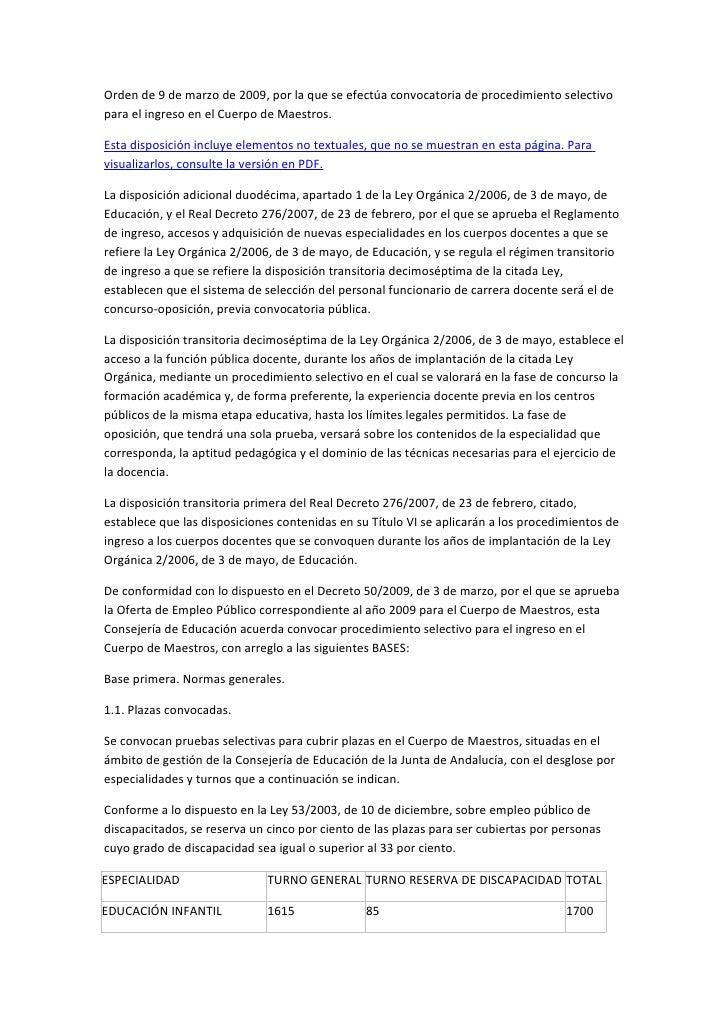Convocatoria de oposiciones de maestros 2009 for Convocatoria de maestros
