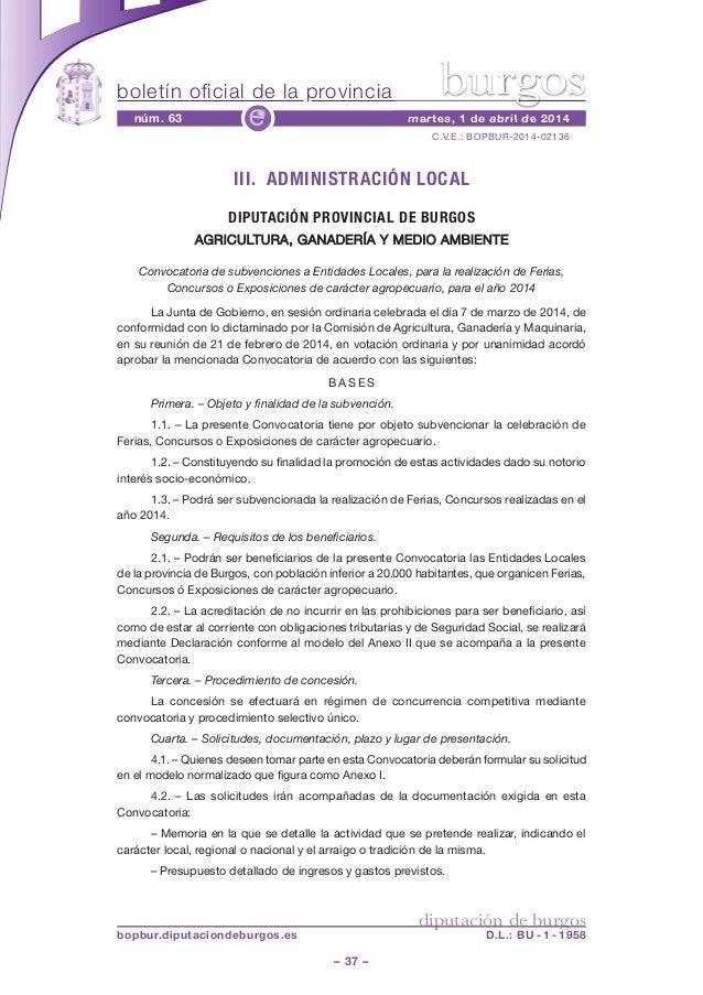 boletín oficial de la provincia – 37 – C.V.E.: BOPBUR-2014-02136 núm. 63 martes, 1 de abril de 2014e diputación de burgos ...