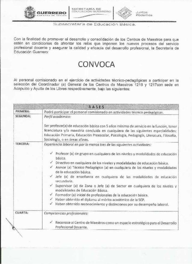 Convocatoria centro de maestros 1217 y 1218 for Convocatoria de maestros