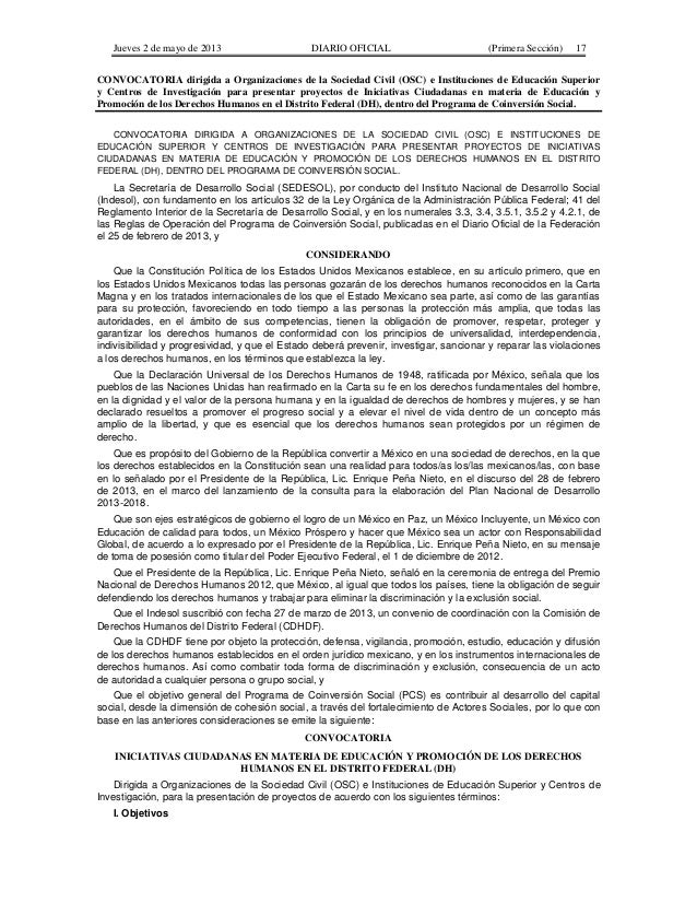 Jueves 2 de mayo de 2013  DIARIO OFICIAL  (Primera Sección)  17  CONVOCATORIA dirigida a Organizaciones de la Sociedad Civ...