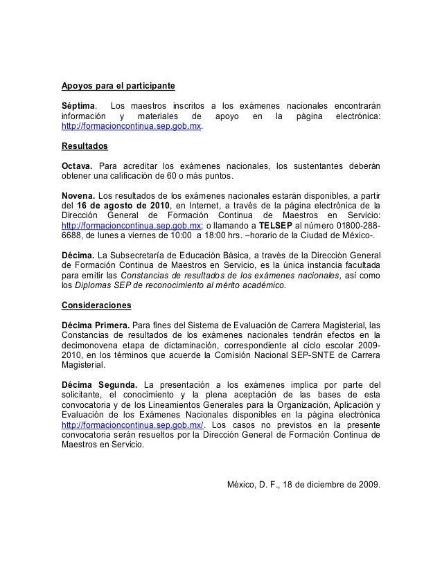 Convocatoria enams 2009 2010 for Convocatoria de maestros