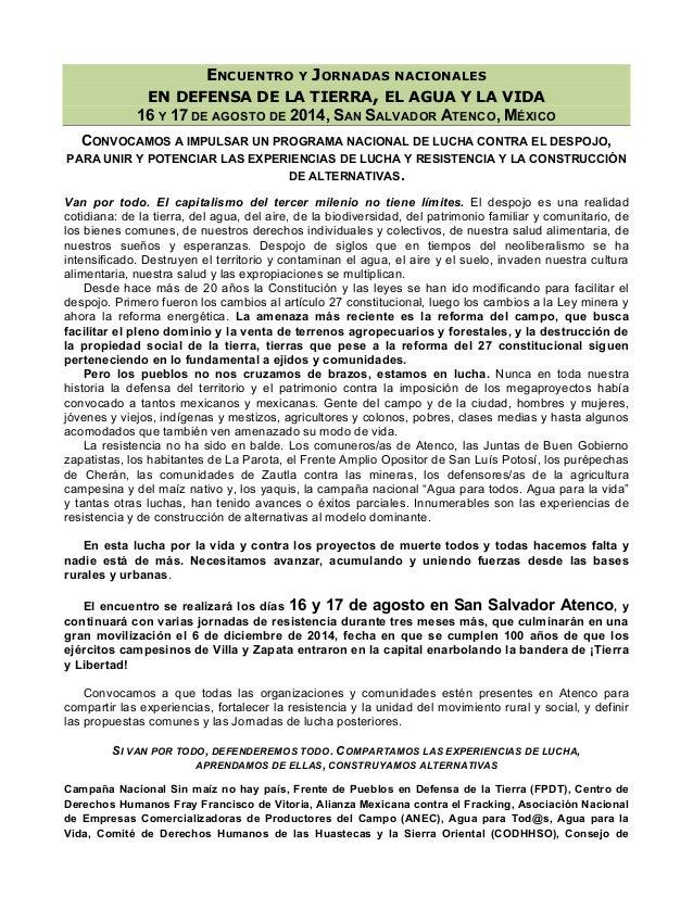 ENCUENTRO Y JORNADAS NACIONALES EN DEFENSA DE LA TIERRA, EL AGUA Y LA VIDA 16 Y 17 DE AGOSTO DE 2014, SAN SALVADOR ATENCO,...