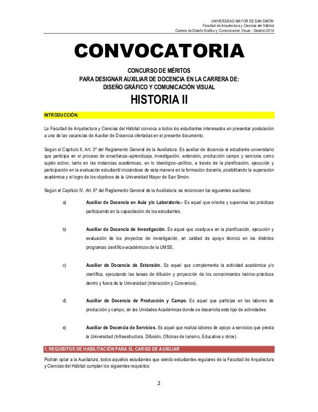 Convocatoria historia ii for Convocatoria para docentes