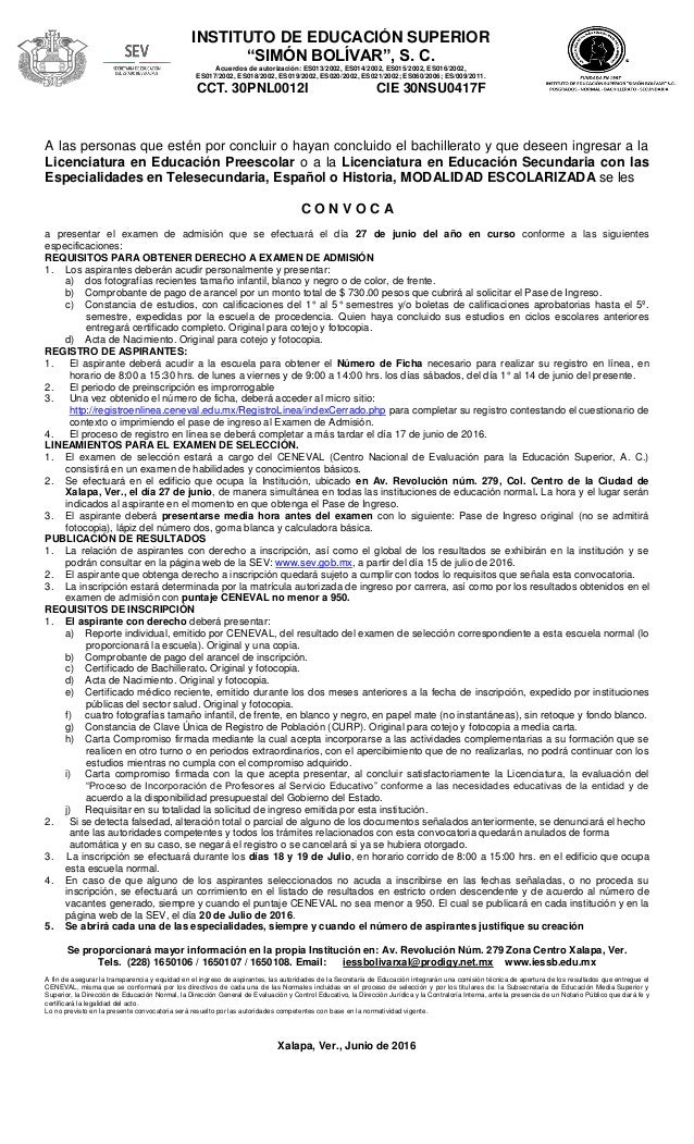 Convocatoria iessb 2016 17 for Convocatoria maestros 2016