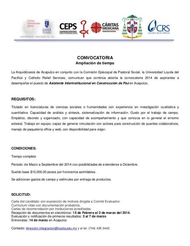 CONVOCATORIA Ampliación de tiempo La Arquidiócesis de Acapulco en conjunto con la Comisión Episcopal de Pastoral Social, l...