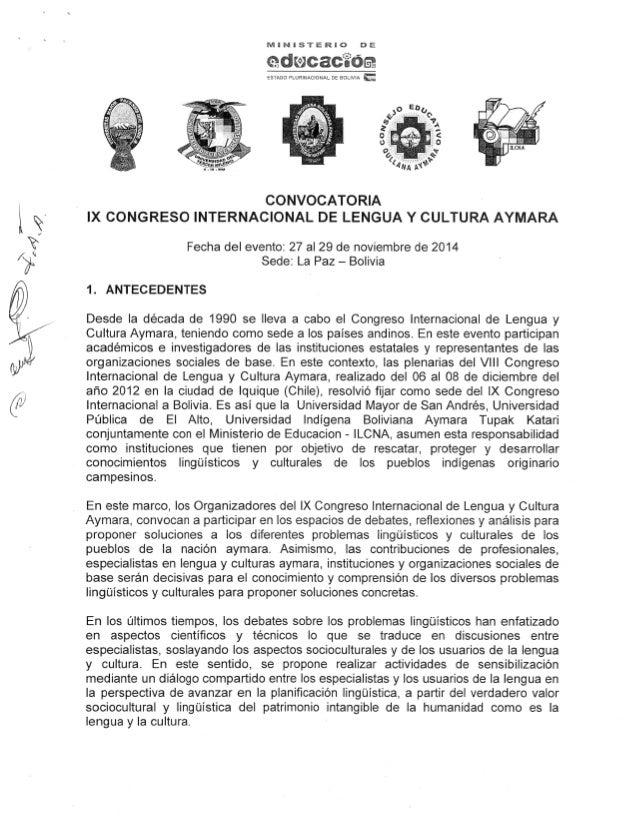Convocatoria ix congreso internacional de lengua y cultura aymara