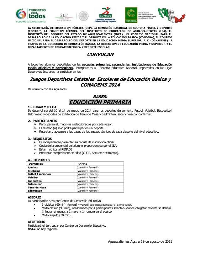 LA SECRETARÍA DE EDUCACIÓN PÚBLICA (SEP), LA COMISIÓN NACIONAL DE CULTURA FÍSICA Y DEPORTE (CONADE), LA COMISIÓN TÉCNICA D...